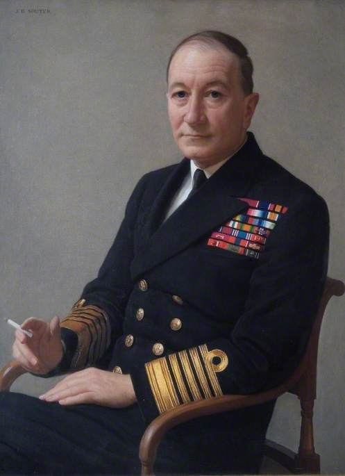 Admiral of the Fleet Sir John H. D. Cunningham (1885–1962), GCB, MVO, First Sea Lord and Chief of Naval Staff (1946–1948), 1947 by John Bulloch Souter | Painting Copy | ArtsDot.com