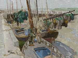 Georgina Moutray Kyle - Harbour Scene with Floats