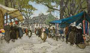 Georgina Moutray Kyle - A Market in France