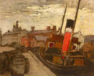 Georgina Moutray Kyle - Boat at Dock, Belgium