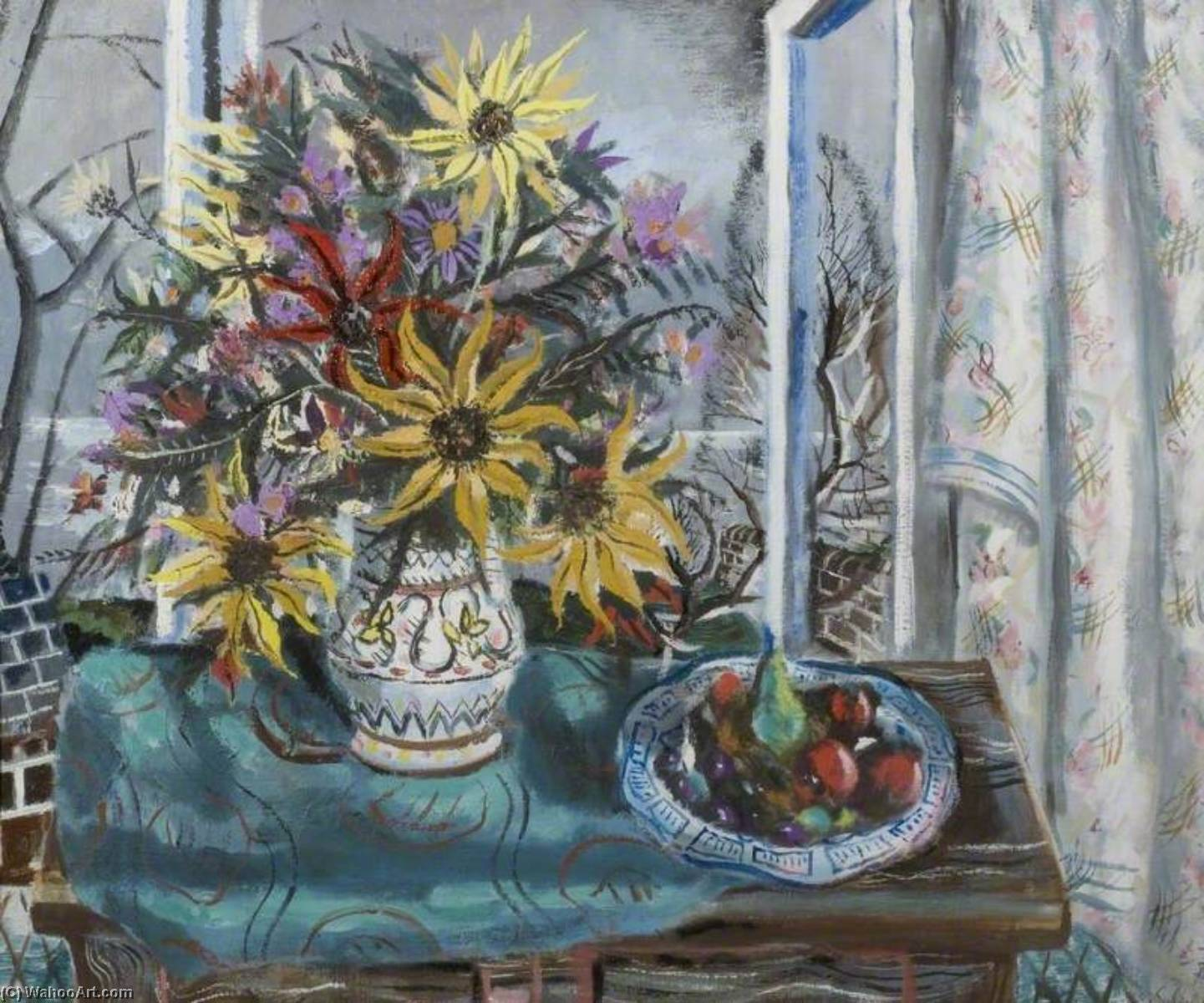 Sunflowers and Fruit by Rowland Suddaby | Oil Painting | ArtsDot.com