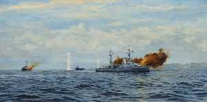 Rowland Langmaid - HMS 'Orion' Bombarding a ..