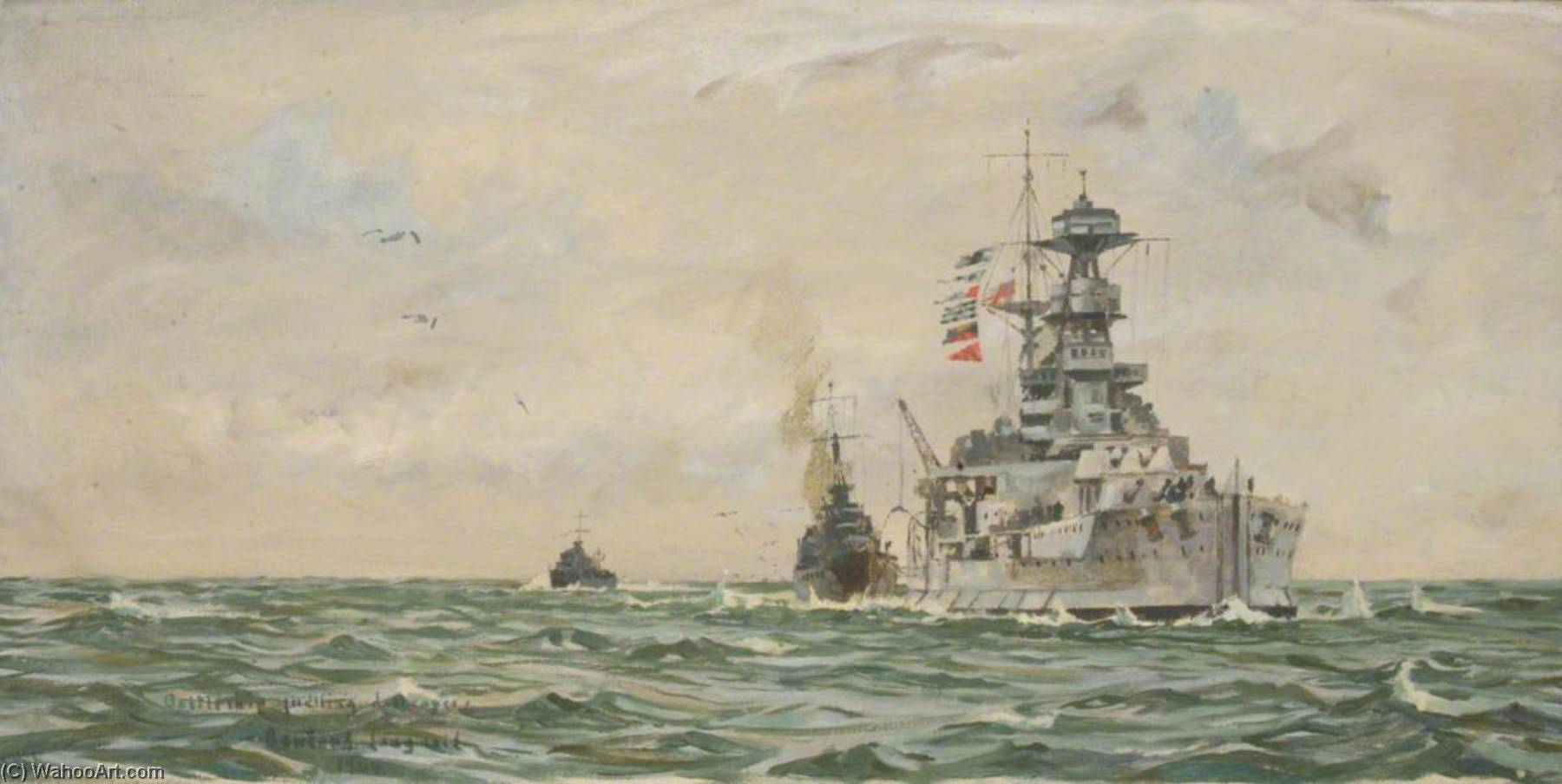 HMS `Malaya` Refuelling Destroyers at Sea, 1944 by Rowland Langmaid | Oil Painting | ArtsDot.com