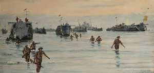 Rowland Langmaid - Landing at Sicily, 10 Jul..