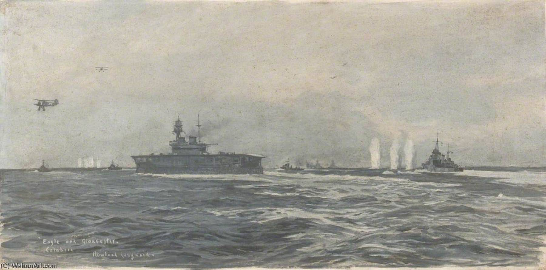 HMS `Eagle` and `Gloucester` off Calabria, 9 July 1940 by Rowland Langmaid | Art Reproduction | ArtsDot.com