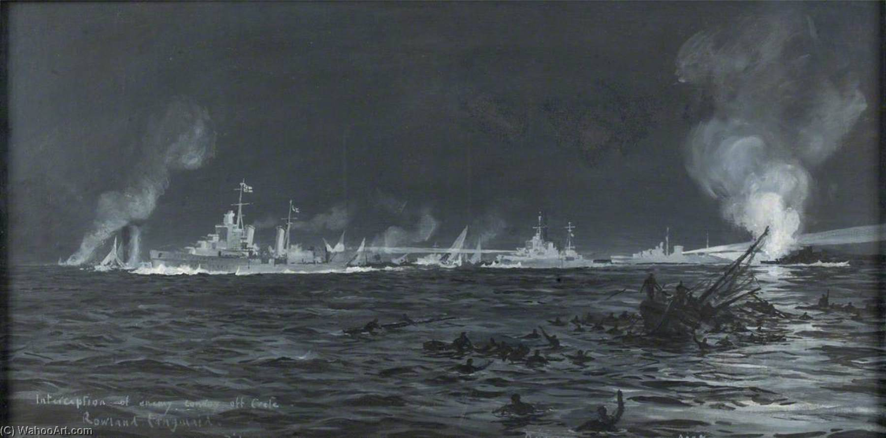 HMS `Dido`, `Ajax` and `Orion` in Action off Crete, 21 May 1941 by Rowland Langmaid | Museum Art Reproductions | ArtsDot.com