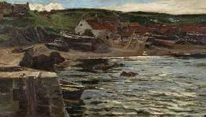 Colin Hunter - Boats at Rest, Coldingham