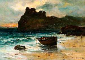 Colin Hunter - Seascape with a Castle