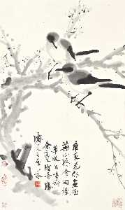 Deng Fen - PLUM BLOSSOMS AND MAGPIES