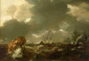 Willem Van De Velde The Younger - A Dutch Mercant Ship Running between Rocks in Rough Weather