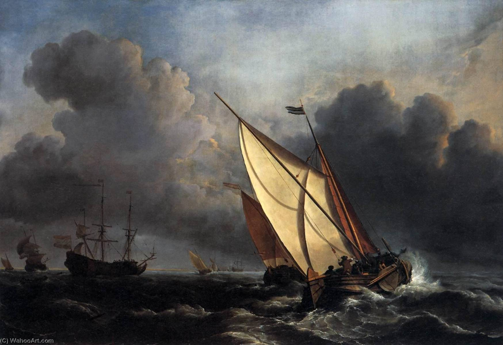 Ships on a Stormy Sea, 1672 by Willem Van De Velde The Younger (1633-1707, Netherlands) | Museum Art Reproductions Willem Van De Velde The Younger | ArtsDot.com