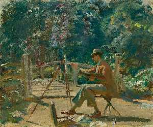 Alfred James Munnings - Maurice Codner sketching ..