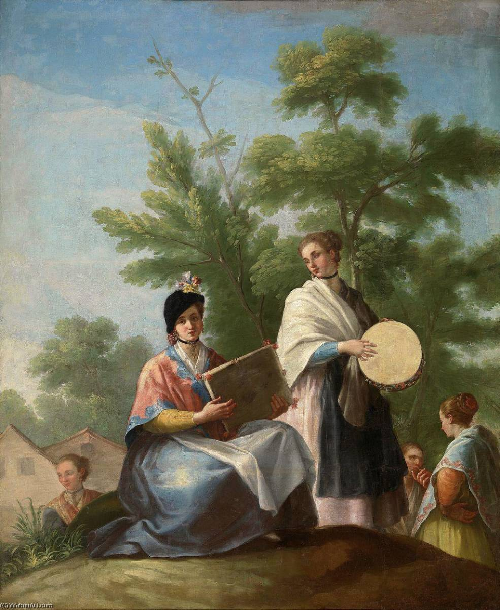 Girls playing the tambourine, 1777 by Ramon Bayeu Y Subias (1746-1793) | Art Reproduction | ArtsDot.com