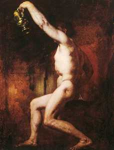 William Etty - Male Nude Figure Holding a Jug