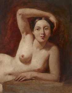 William Etty - Half Figure of a Female Nude Reclining