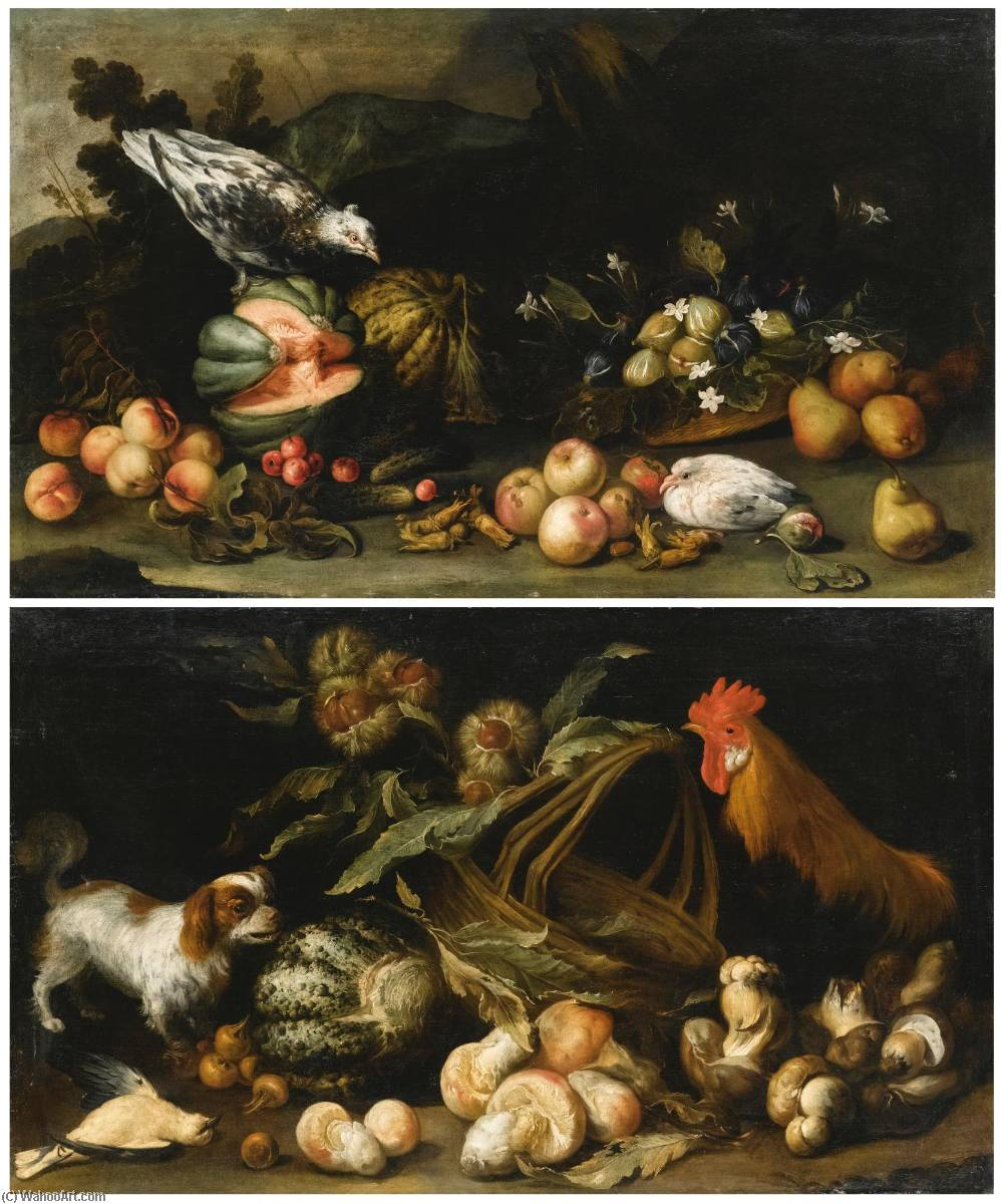 A forest floor still life with a dog, a cockerel, horse chestnuts and a melon A forest floor still life with figs, pears, melons, apricots and cucumbers by Anton Maria Vassallo (1620-1664) | Paintings Reproductions Anton Maria Vassallo | ArtsDot.com