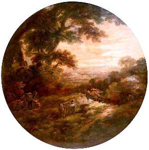 John Joseph Barker - Landscape with Man and Do..