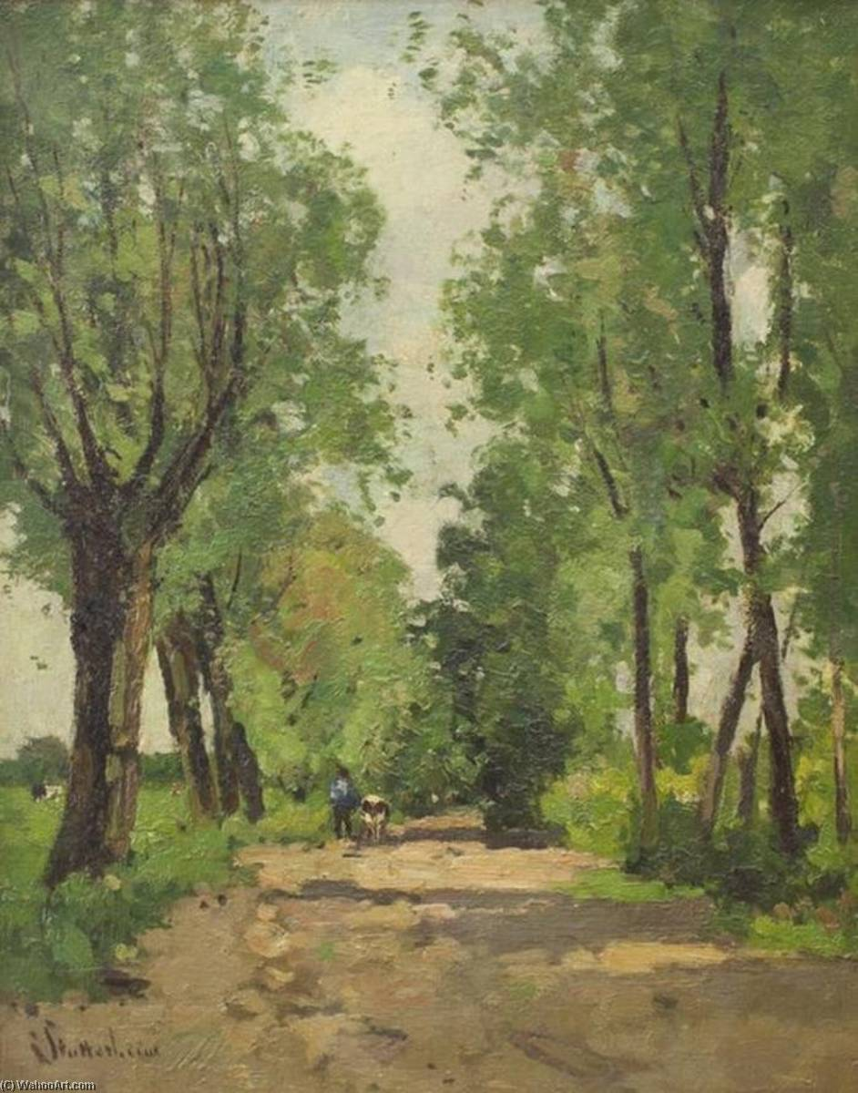 Farmer and Cow on the Road by Louis Stutterheim | Museum Quality Reproductions | ArtsDot.com