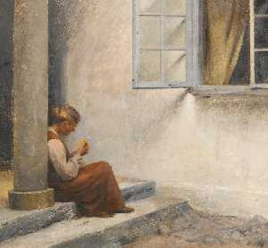 Peder Ilsted - On the Porch, Liselund