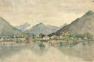 Theodore J. Richardson - Sitka from the Islands, Showing Russian Castle, 1888