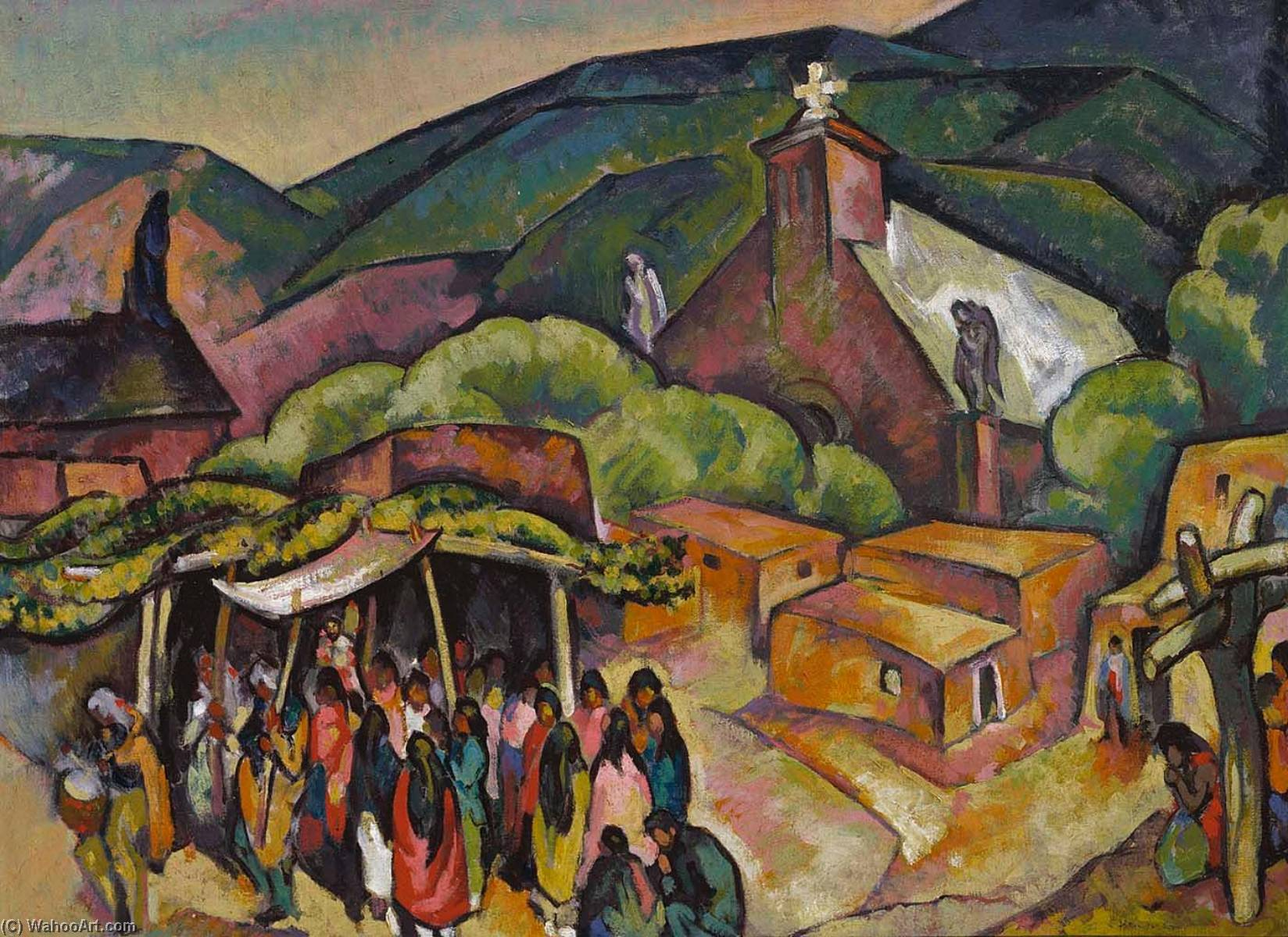 Buy Museum Art Reproductions : Feast Day San Juan Pueblo, 1921 by William Penhallow Henderson | ArtsDot.com