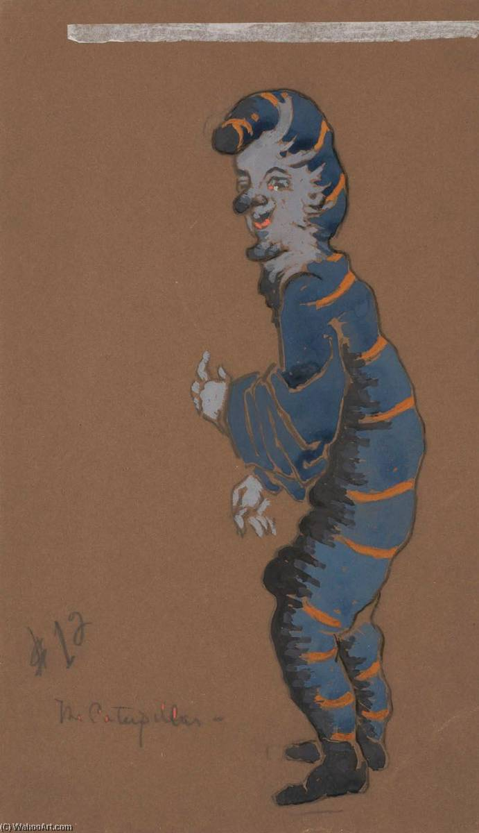 Caterpillar (costume design for Alice in Wonderland, 1915) by William Penhallow Henderson | Paintings Reproductions William Penhallow Henderson | ArtsDot.com