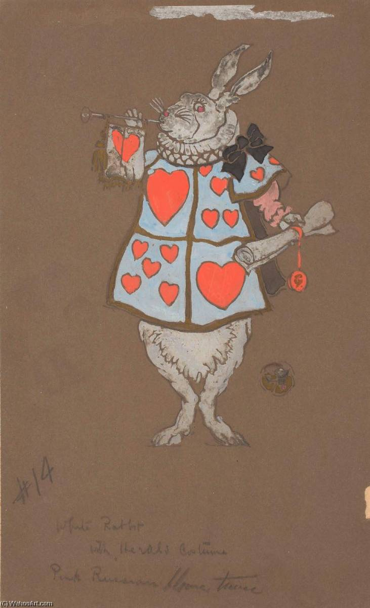 White Rabbit with Herald`s Costume (costume design) by William Penhallow Henderson | Museum Art Reproductions | ArtsDot.com
