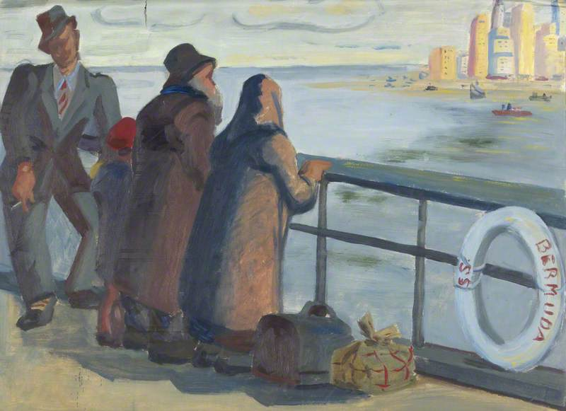 A Couple of Old Jewish Refugees and a Spiv on SS `Bermuda`, Approaching New York, 1939 by Margaret Frances Anne Vane-Tempest-Stewart | Museum Quality Copies Margaret Frances Anne Vane-Tempest-Stewart | ArtsDot.com