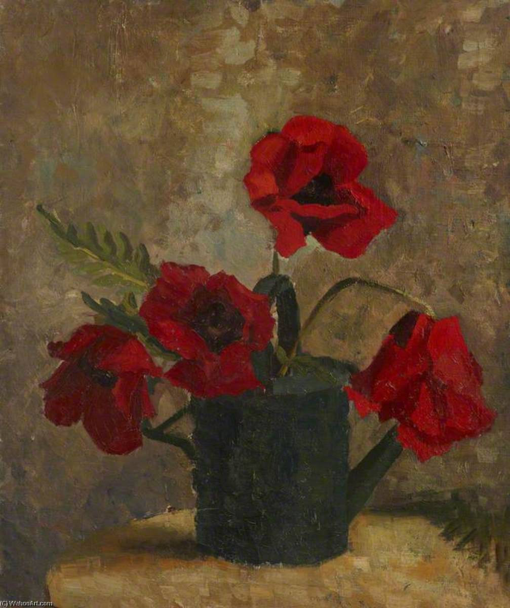Still Life of Poppies in a Watering Can by Margaret Frances Anne Vane-Tempest-Stewart | Museum Art Reproductions Margaret Frances Anne Vane-Tempest-Stewart | ArtsDot.com
