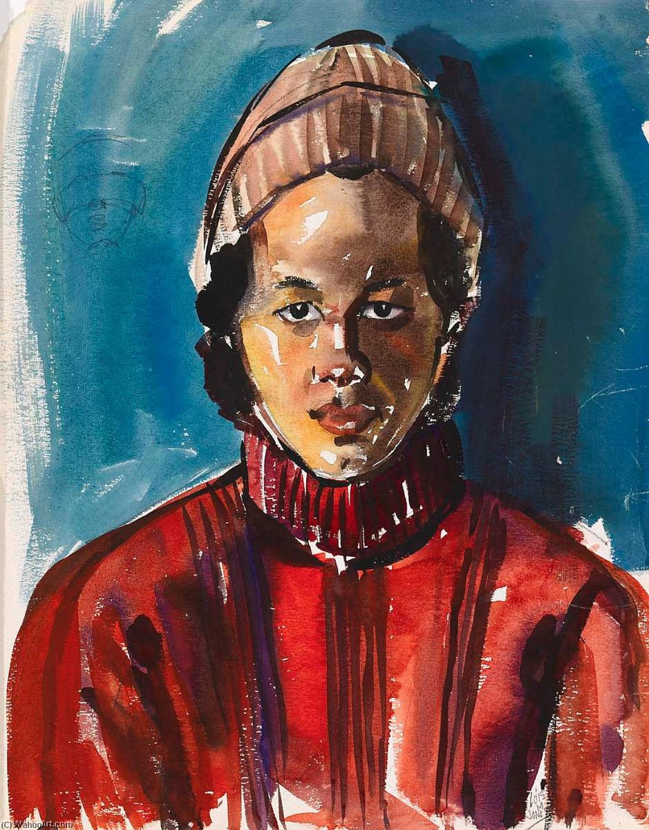 Young Man in Red Sweater by Lois Mailou Jones (1905-1998, United States) | Museum Quality Reproductions | ArtsDot.com