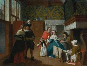 Jan Josef Horemans The Yo.. - A Sick Woman with her Fam..