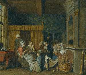 Jan Josef Horemans The Yo.. - A FAMILY TAKING TEA WHILE..