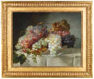 Joseph Nigg - Still life with grapes in..