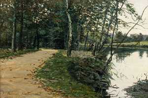 George Sherwood Hunter - Woodland Path by Water