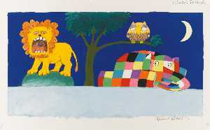 David Mckee - Two illustrations from Elmer-s Friends , comprising