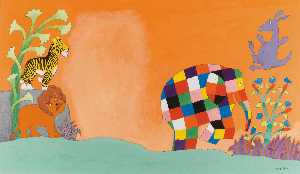 David Mckee - Wrapper design for Elmer and the Stranger