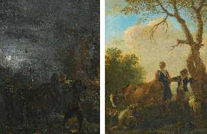 Pieter Boddingh Van Laer - a Night scene with brigands A shepherd and shepherdess with their flock