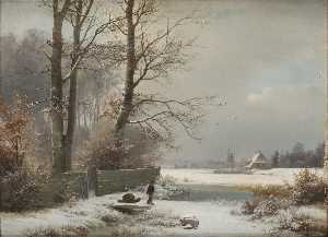 Anders Andersen Lundby - Man with Sledge in a Wint..