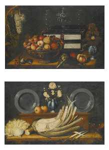 Bernardo Polo - Still life with a lacquered chest, a bowl of assorted fruit, a vase of flowers, and an artichoke and a pomegranate on the ledge beneath Still life with a cardoon on a shelf, with two pewter plates and a vase of flowers on display on the shelf above