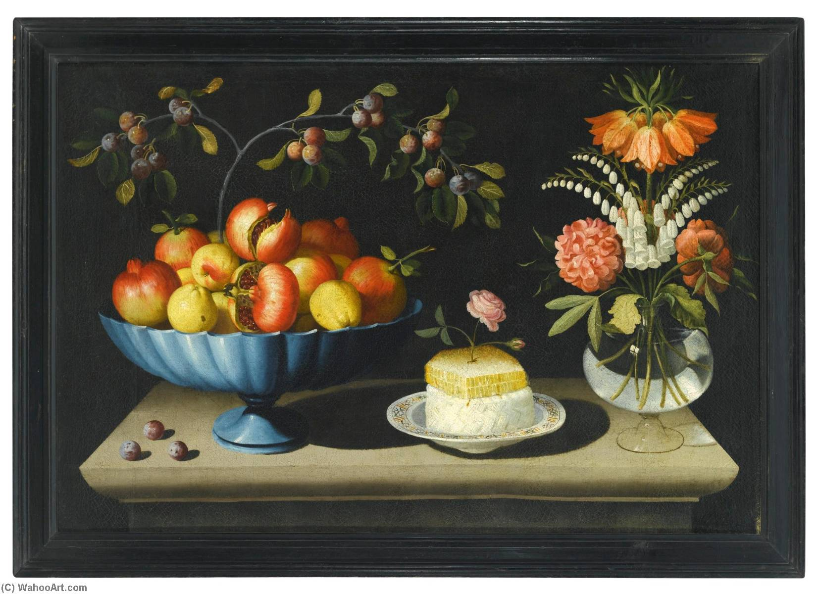 Order Paintings Reproductions | Still life with a blue bowl of pomegranates and peaches, a plate of white cheese with a honeycomb and a rose, and flowers in a glass vase by Bernardo Polo | ArtsDot.com
