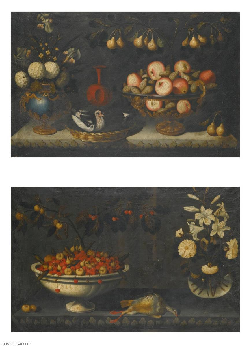 Order Art Reproductions | Still life with flowers in a gilt mounted bluestone vase and a bowl of apples with a sprig of pears Still life with a bowl of cherries and other fruit, a glass vase of lilies to the right by Bernardo Polo | ArtsDot.com