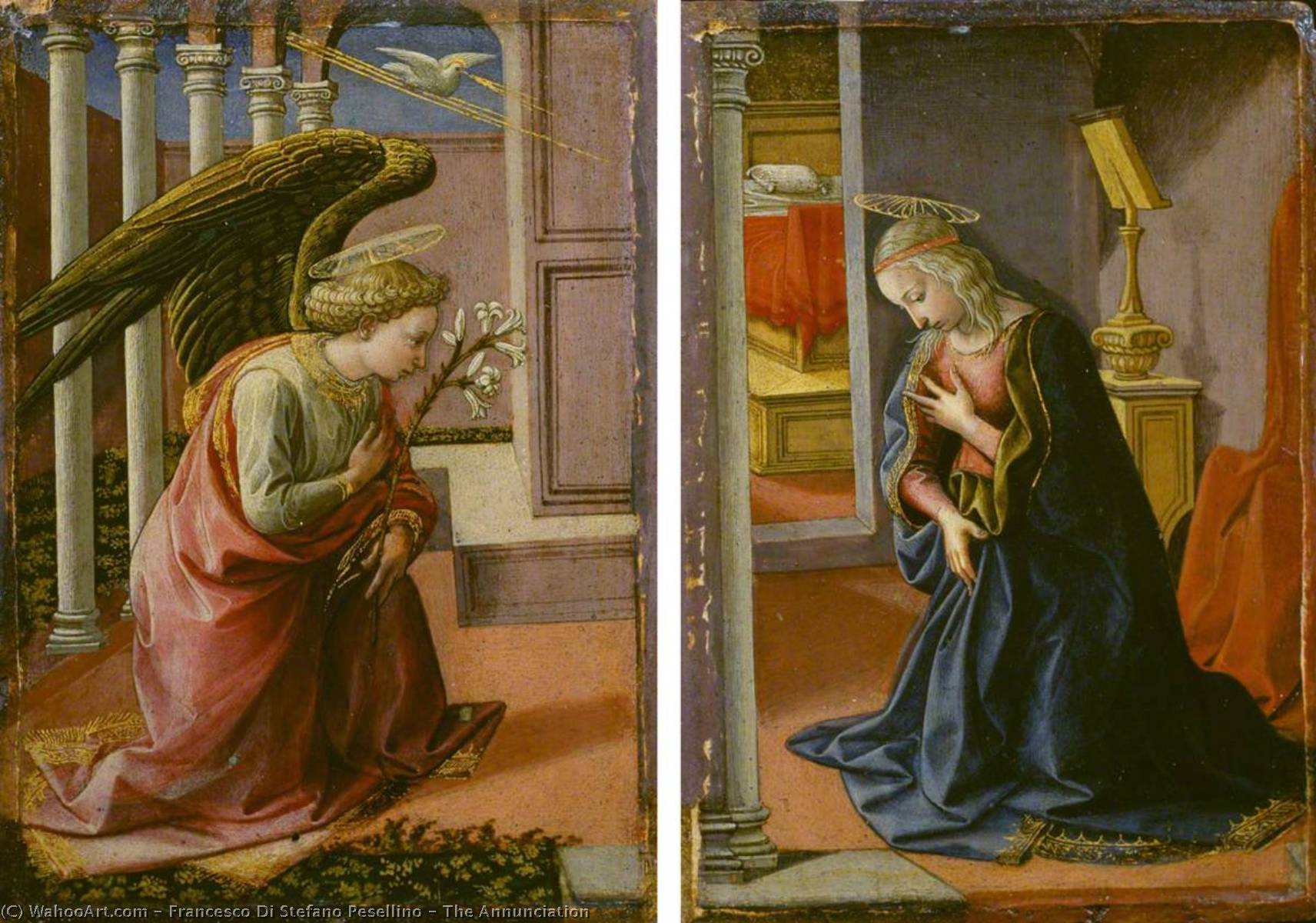 The Annunciation, 1455 by Francesco Di Stefano Pesellino (1422-1457) | Museum Art Reproductions | ArtsDot.com