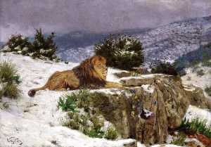 Geza Vastagh - A Lion in the Snow
