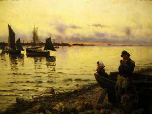 Frithjof Smith Hald - Norwegian Solnedgang på havna Sunset at the harbor