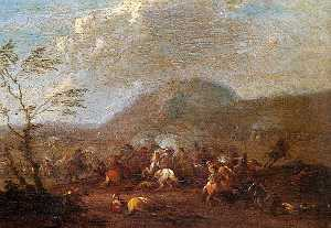 Karel Breydel - Battle Scene, Cavalry Skirmish