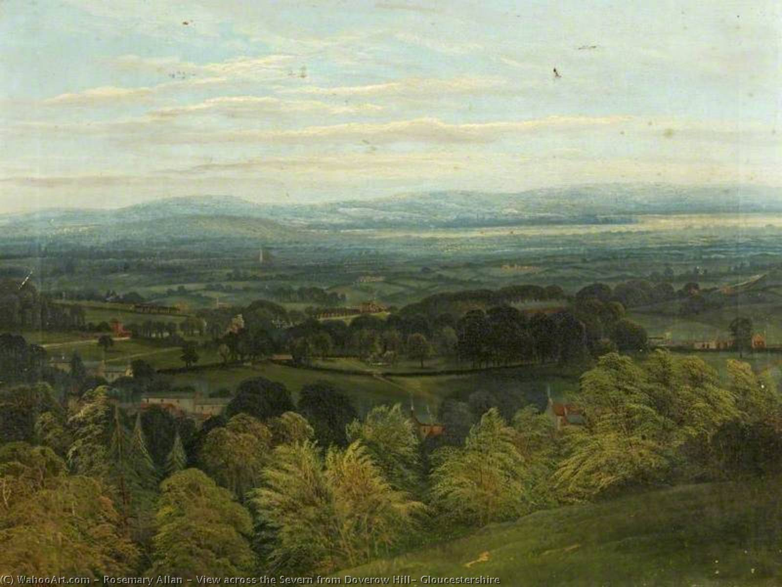 View across the Severn from Doverow Hill, Gloucestershire by Rosemary Allan (1911-2008, United Kingdom) | Painting Copy | ArtsDot.com