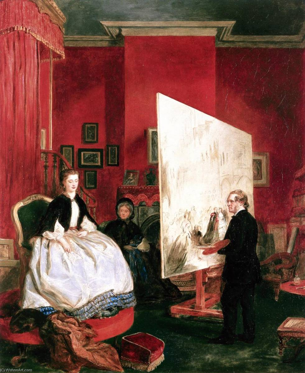Frith in His Studio Painting Alexandra, Princess of Wales, for `The Marriage of the Price of Wales`, 1863 by John Ballantyne | Oil Painting | ArtsDot.com
