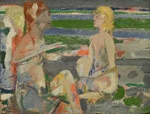 Robert Beauchamp - Three Nudes On Beach