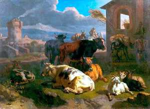 Pieter Van Bloemen - Italian Landscape with Cattle