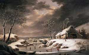 Joseph Francis Gilbert - Winter Scene (Landscape with a Village and Figures Skating)